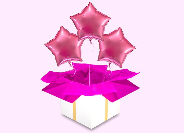 Trzy balony różowe gwiazdy