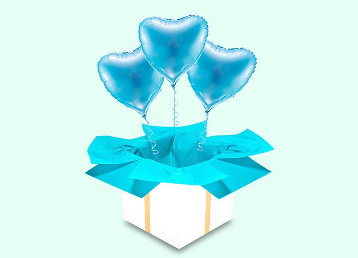 Balony trzy błękitne serca