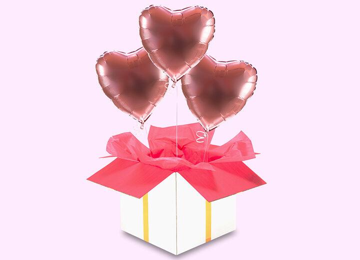 balony serca - gold rose