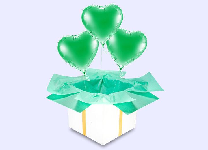 Balony foliowe zielone serca