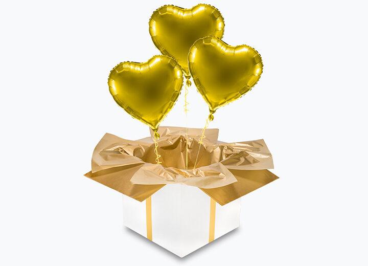 balony serca - złoty