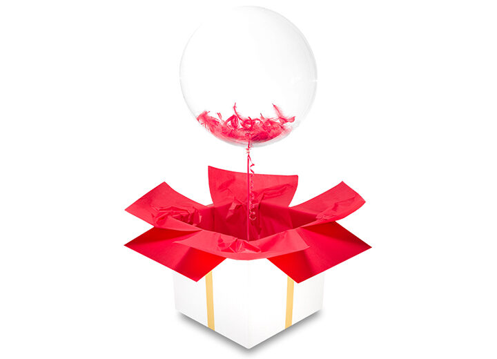 Transparentny balon z piórkami