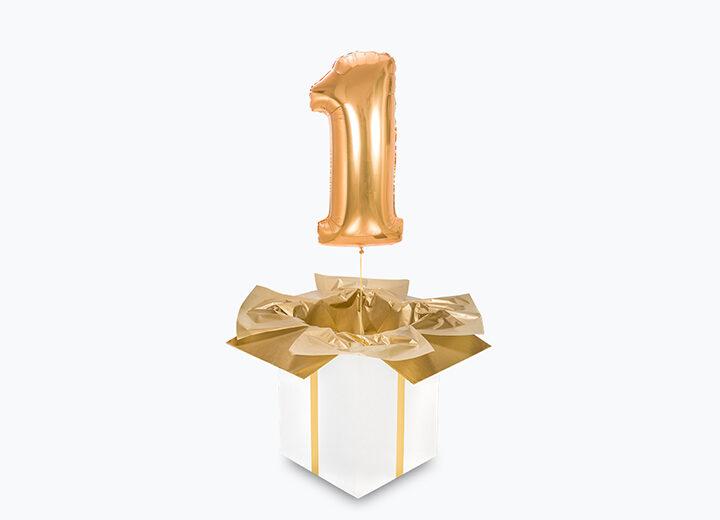 balon cyfra 1 złota