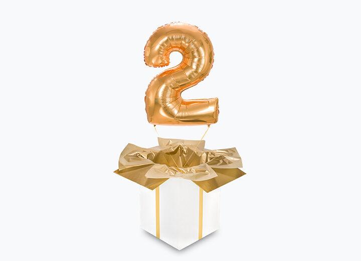 balon cyfra dwa złota