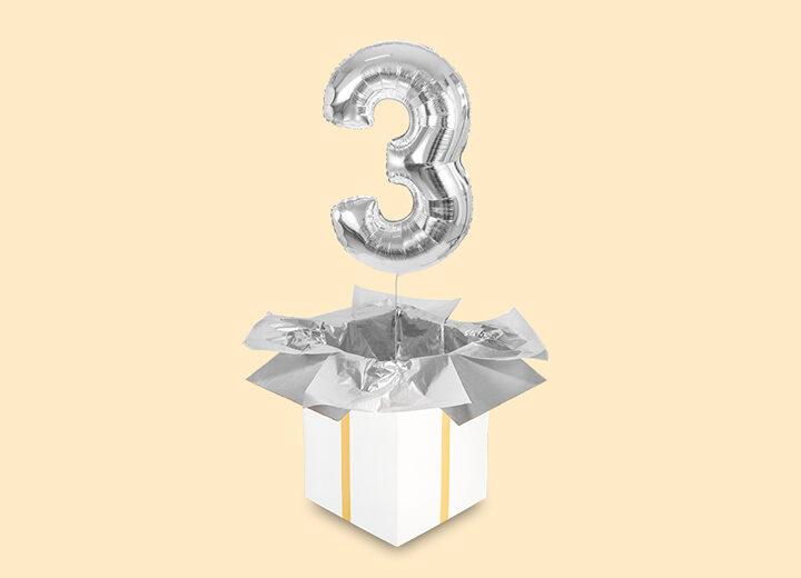 balon cyfra trzy srebrny