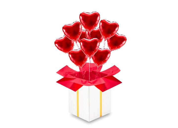 10 balonów serca czerwone